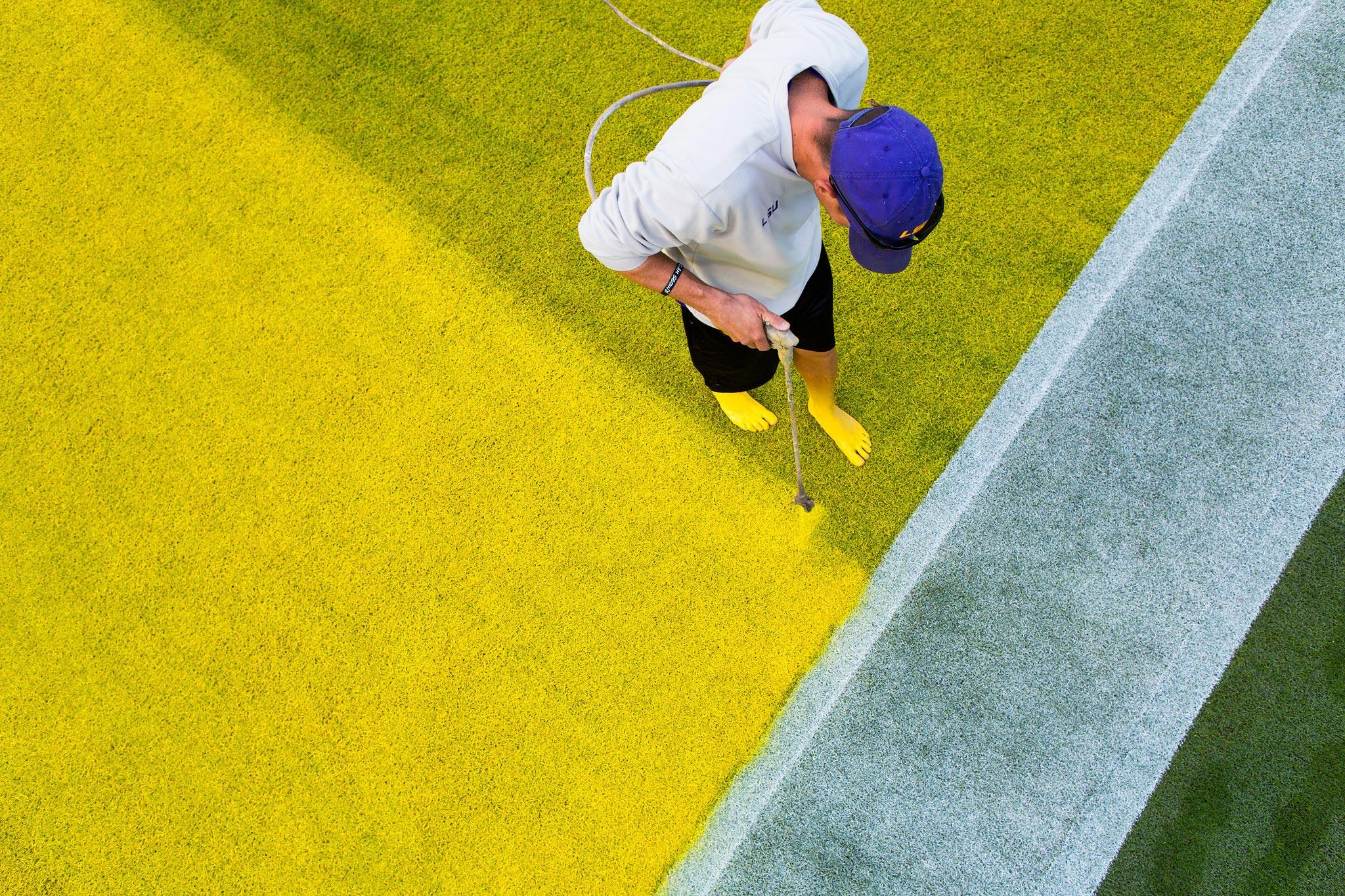 LSU grounds crew with painted feet