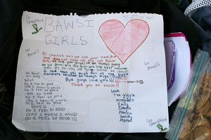 The BAWSI girls wrote letters to thank their coaches, who at this session were members of the Stanford lacrosse team.