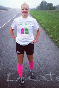 Kelcey Harrison on the road in Missouri during her lung run.