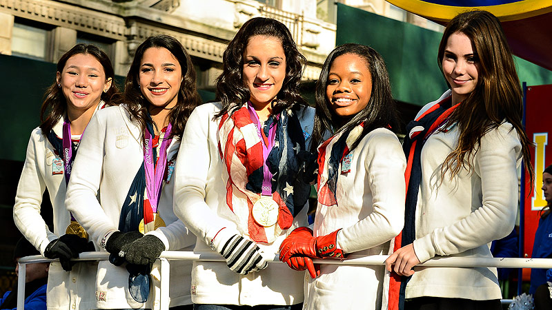 The Fierce Five (from left, Kyla Ross, Aly Raisman, Jordyn Wieber, Gabrielle Douglas and McKayla Maroney) will enter the USA Gymnastics Hall of Fame Thursday.