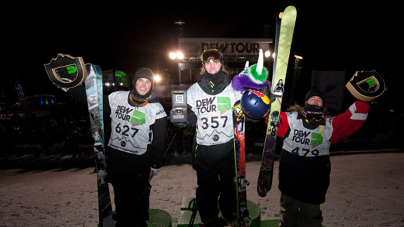 The ski big air podium at the Dew Tour on Thursday night: Kai Mahler, Gus Kenworthy, Henrik Harlaut.