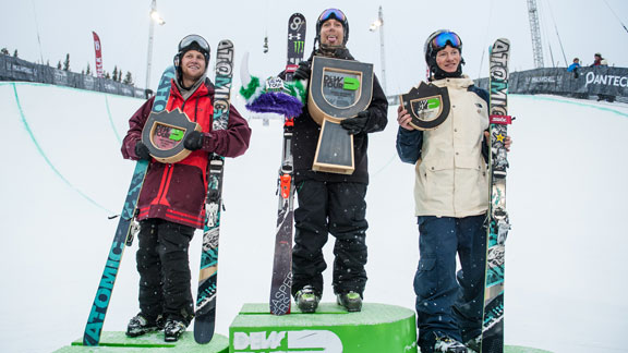 The men's ski pipe podium: Justin Dorey, Byron Wells, and Mike Riddle.