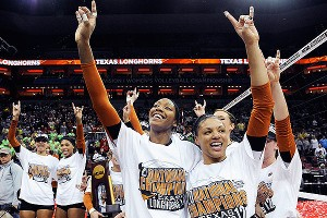 The Texas Longhorns celebrate their national championship after Saturday night's sweep of Oregon.