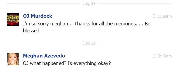 An exchange on Facebook between Murdock and Meghan Azevedo.
