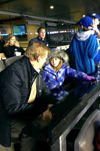 Sam Gordon chats with Roger Goodell at a New York Giants game in December.