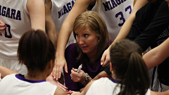 Niagara women's basketball coach Kendra Faustin is expecting her second son next month. I have 13 girls every day, so we need a little testosterone around, Faustin says.
