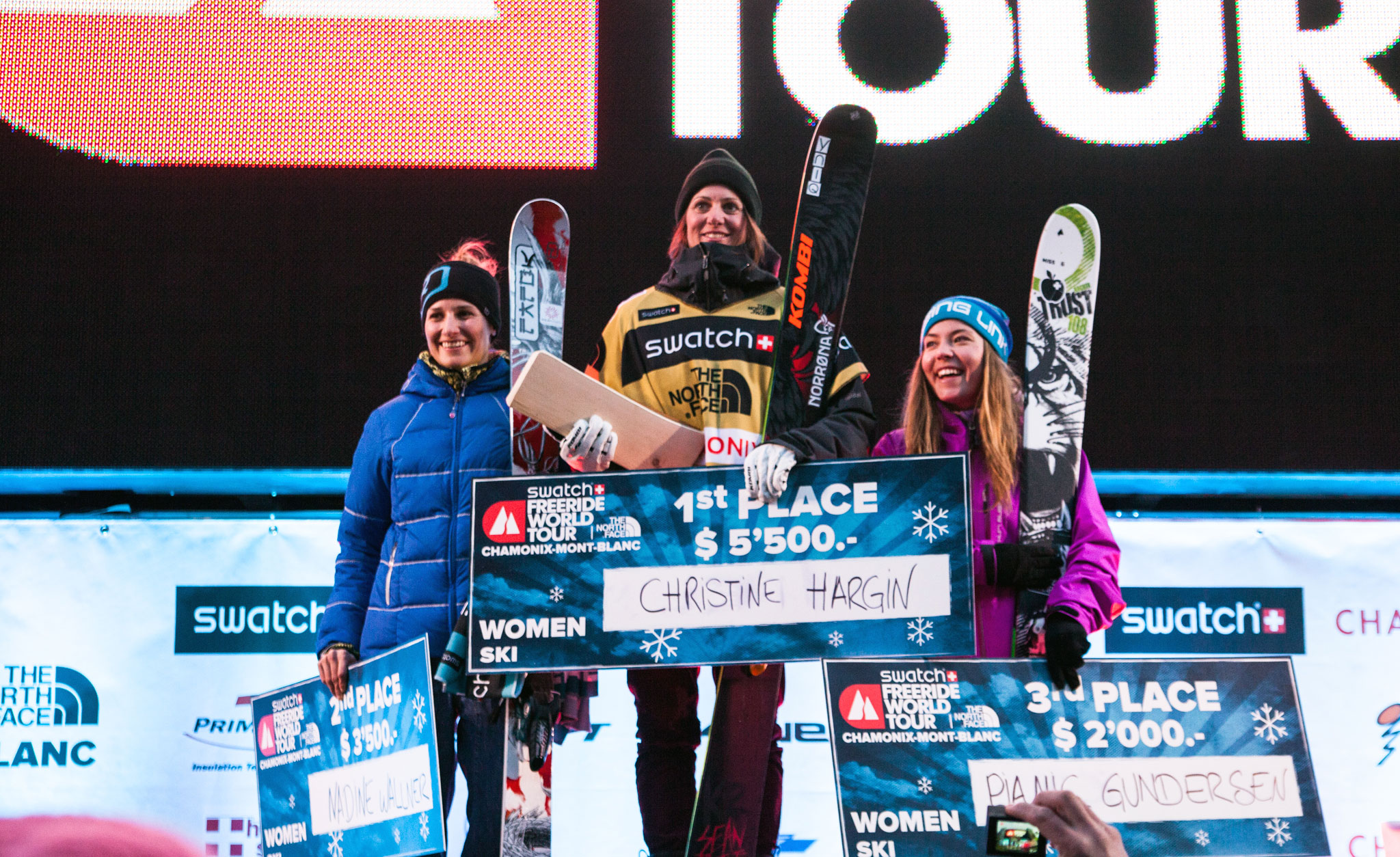The women's podium at the Freeride World Tour in Chamonix: Christine Hargin, Nadine Wallner, and Pia Nic Gunderson.