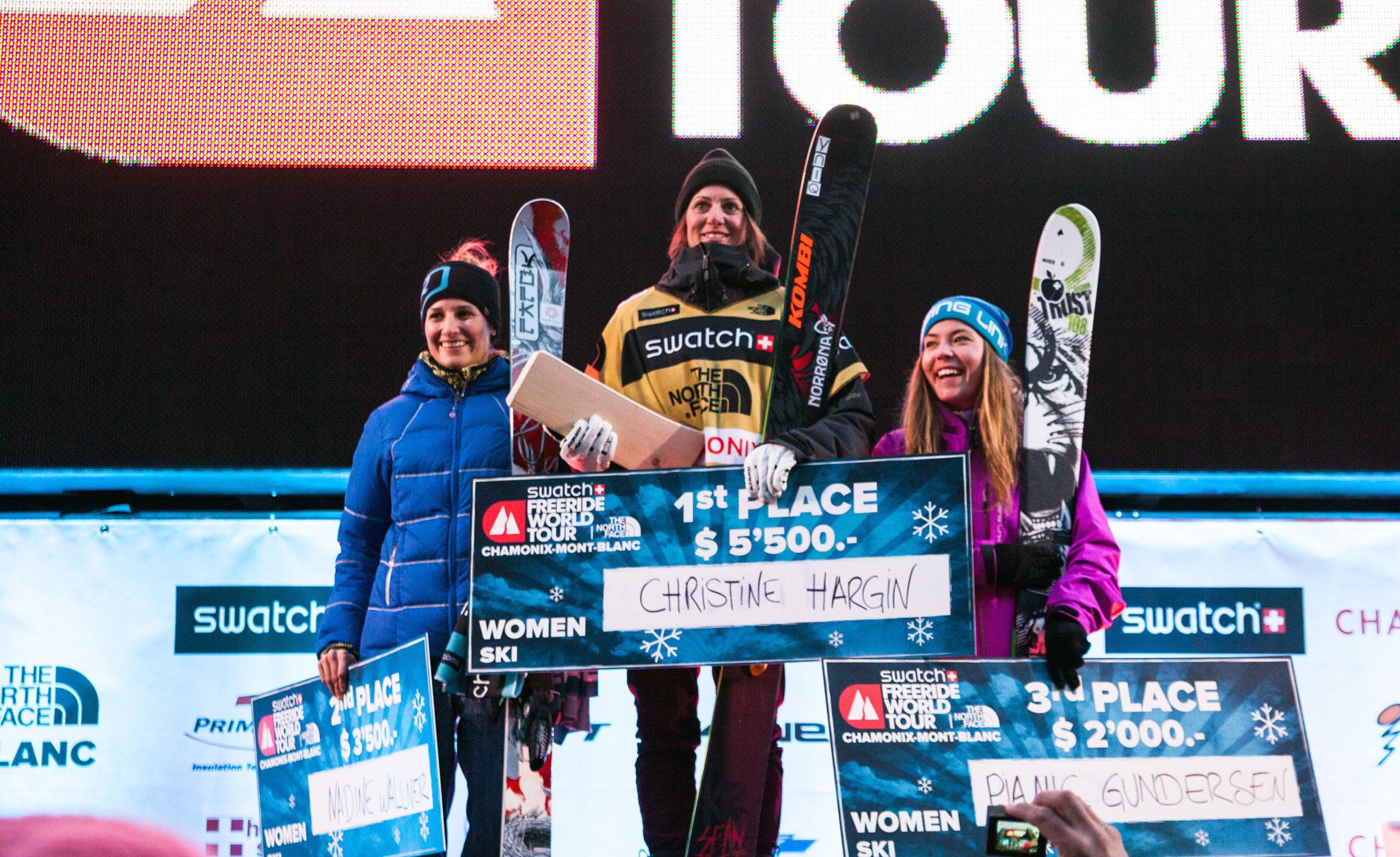 The women's podium at the Freeride World Tour in Chamonix: Christine Hargin, Nadine Wallner, and Pia Nic Gunderson.