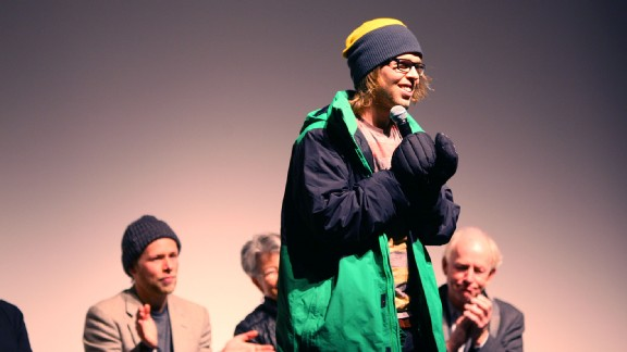Kevin Pearce speaks to the crowd during a 2013 Aspen, Colo screening of The Crash Reel, the documentary about his injury and recovery.
