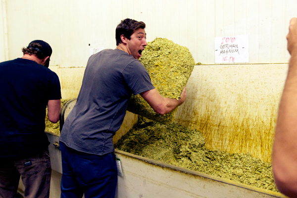 Mikey Taylor and a bale of German hops.