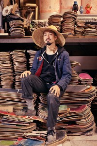 Haroshi, decked out in his Tokyo studio.