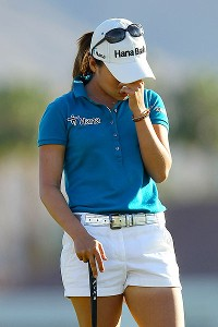 We don't want to see this again: I.K. Kim agonized after missing a one-foot putt to win the Kraft Nabisco Championship.