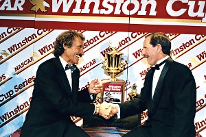 Richard Petty, left, and Dale Earnhardt forever will be linked by the seven Cup championships won each by The King and The Intimidator.