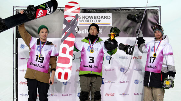 Men's podium in Sochi, from left: Iouri Podladtchikov (SUI), Taku Hiraoka (JPN) and Scott Lago (USA).