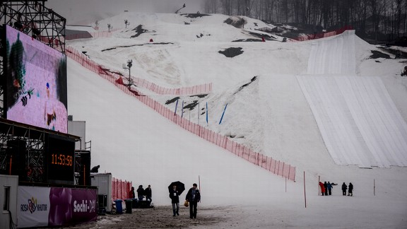 Looking up from the base of the future Olympic slopestyle and cross courses. The snow barely covers the dirt work. The tarps on the right are protecting what's left.
