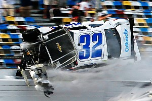 The frontstretch catch fence at Daytona shredded Kyle Larson's Chevrolet upon impact Saturday.