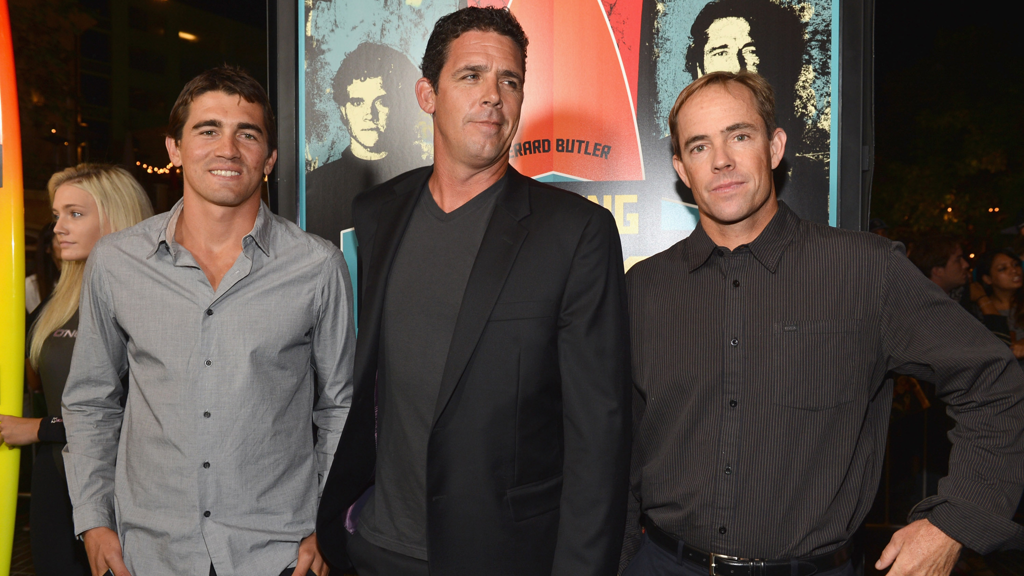 Professional surfers Greg Long, Peter Mel and Zac Wormhoudt at the premiere of 20th Century Fox's 'Chasing Mavericks' in October.