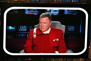 William Shatner, as Captain Kirk, played Seth McFarlane's sidekick during a 17-minute opening monologue.