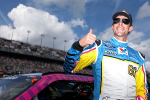Travis Pastrana gets a thumbs-up for his 10th-place showing in Saturday's Nationwide race at Daytona.