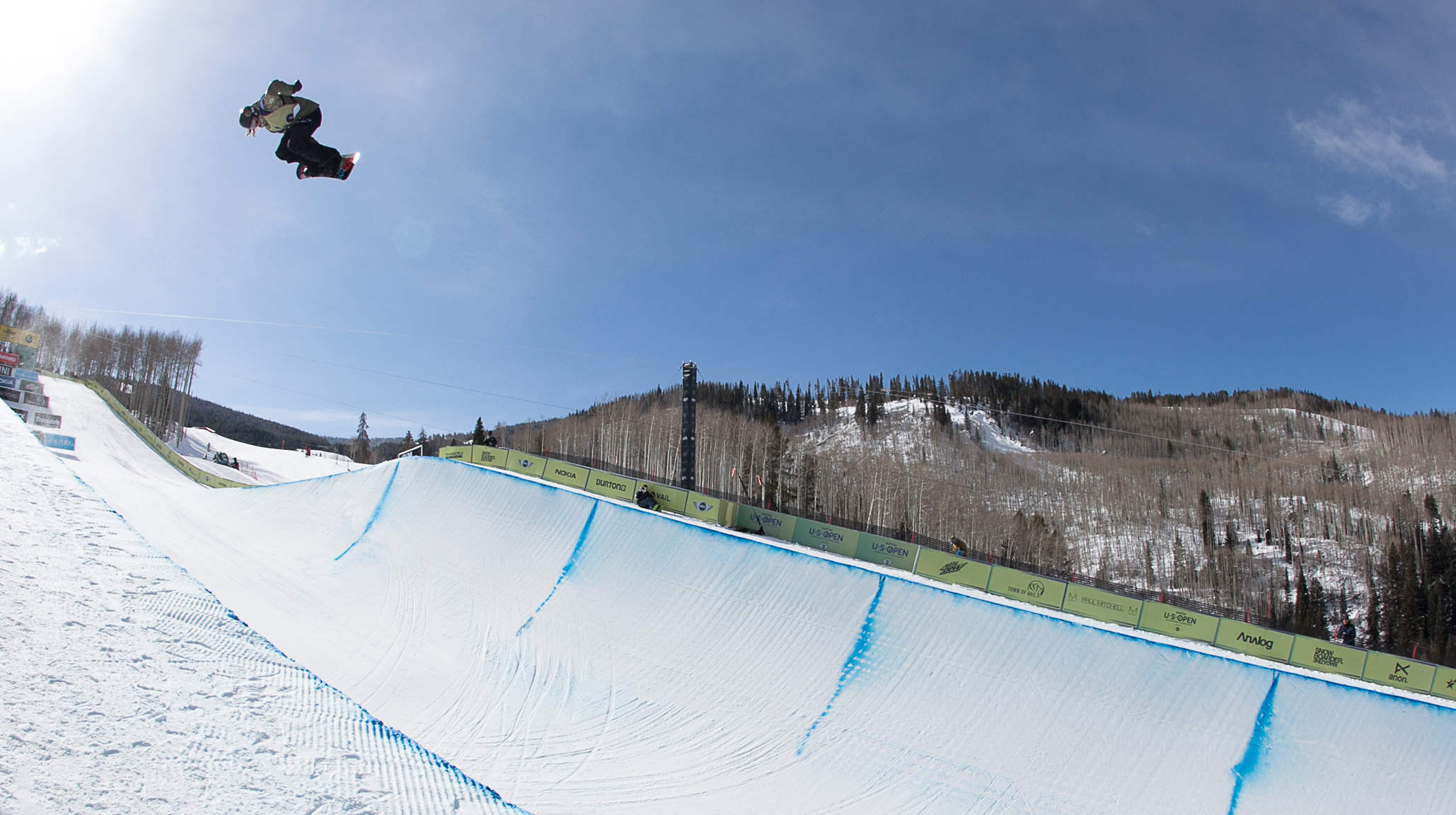 Kelly Clark qualified in the top position for Saturday's women's halfpipe finals with insanely boosted airs like this one.