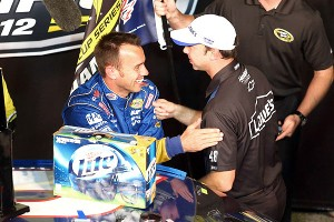 Chad Knaus, right, congratulates Paul Wolfe after Wolfe guided driver Brad Keselowski to the 2012 Sprint Cup title.