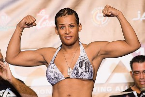 Fallon Fox poses last Friday during the weigh-in for her Championship Fighting Alliance fight with Ericka Newsome in Florida.