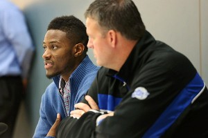 Jones, seated next to Creighton coach Greg McDermott, announced in December that he was going to undergo a heart procedure and that his basketball future was uncertain.