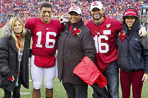 The Wilsons often gather for Russell's big games, like Wisconsin's 45-7 win over Penn State in 2011. Pictured from left are Ashton Wilson (Russell's wife), Russell Wilson, mom Tammy Wilson, Harrison Wilson IV and Anna Wilson.