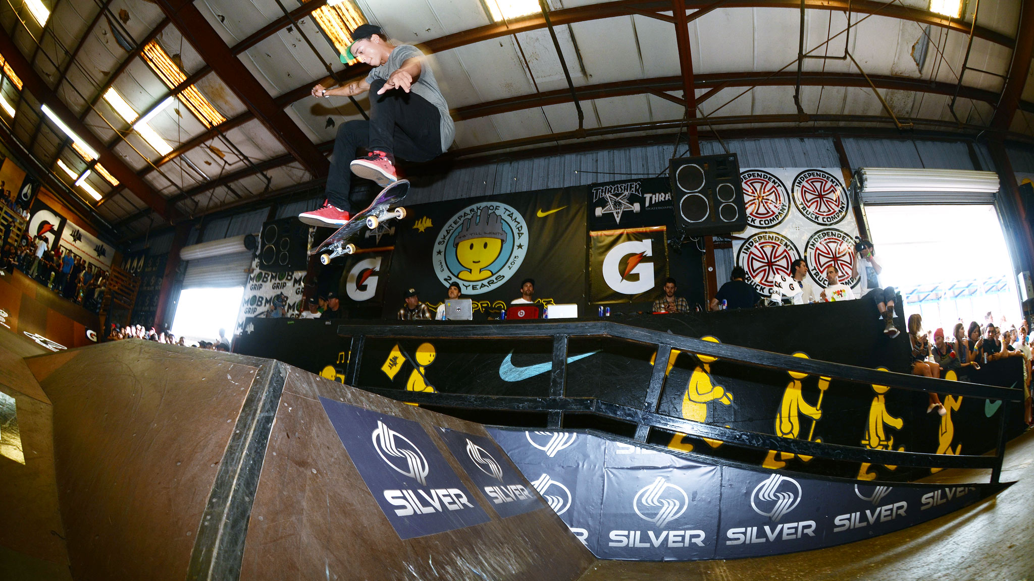 Nyjah Huston was on point the entire weekend and received a hard earned 2nd place with this fakie flip over the funbox.