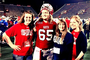 Gilkey with his sisters at the Senior Bowl; left to right, Mallory, Garrett, Hilary and Hannah.