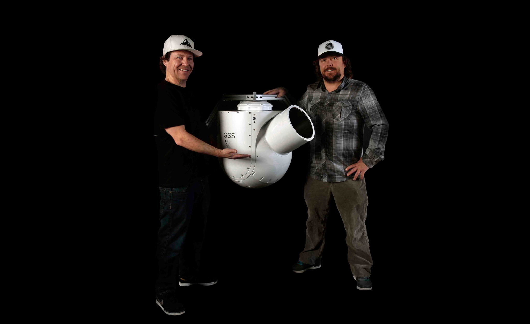 Teton Gravity Research co-founders Todd and Steve Jones with their new Gyro-Stabilized Systems camera platform.