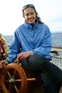 Emily Young took her turn steering and calculating three-point bearings to determine if the boat was on course.