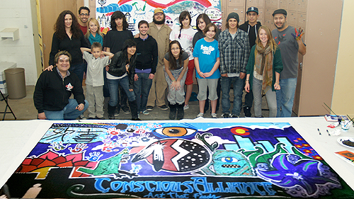 Stronghold Society Mural Project with Conscious Alliance, with artist Robert Marx, Walt Pourier and Colorado Native American Youth.