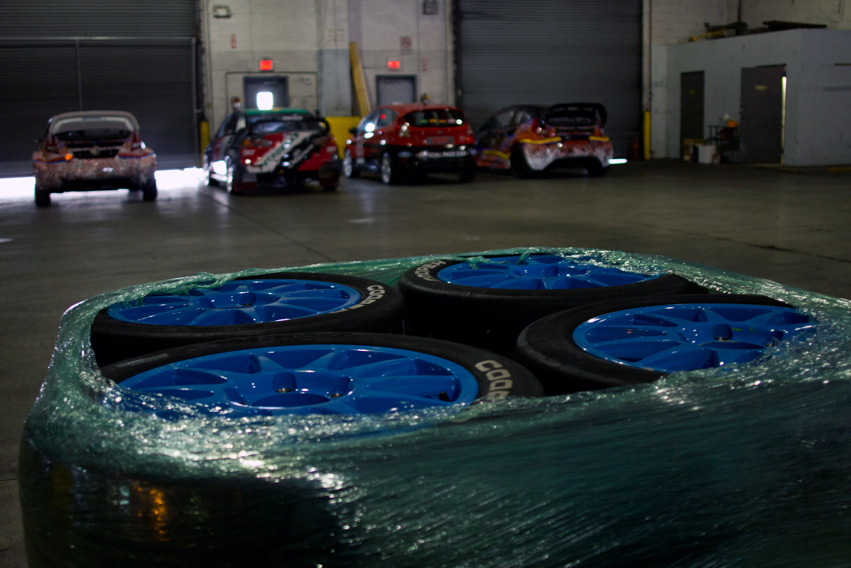 Ken Block's Ford Fiesta ST RX43 comes prepared with plenty of spare tires to kick off the Global RallyCross season in Foz do Iguaçu, Brazil.