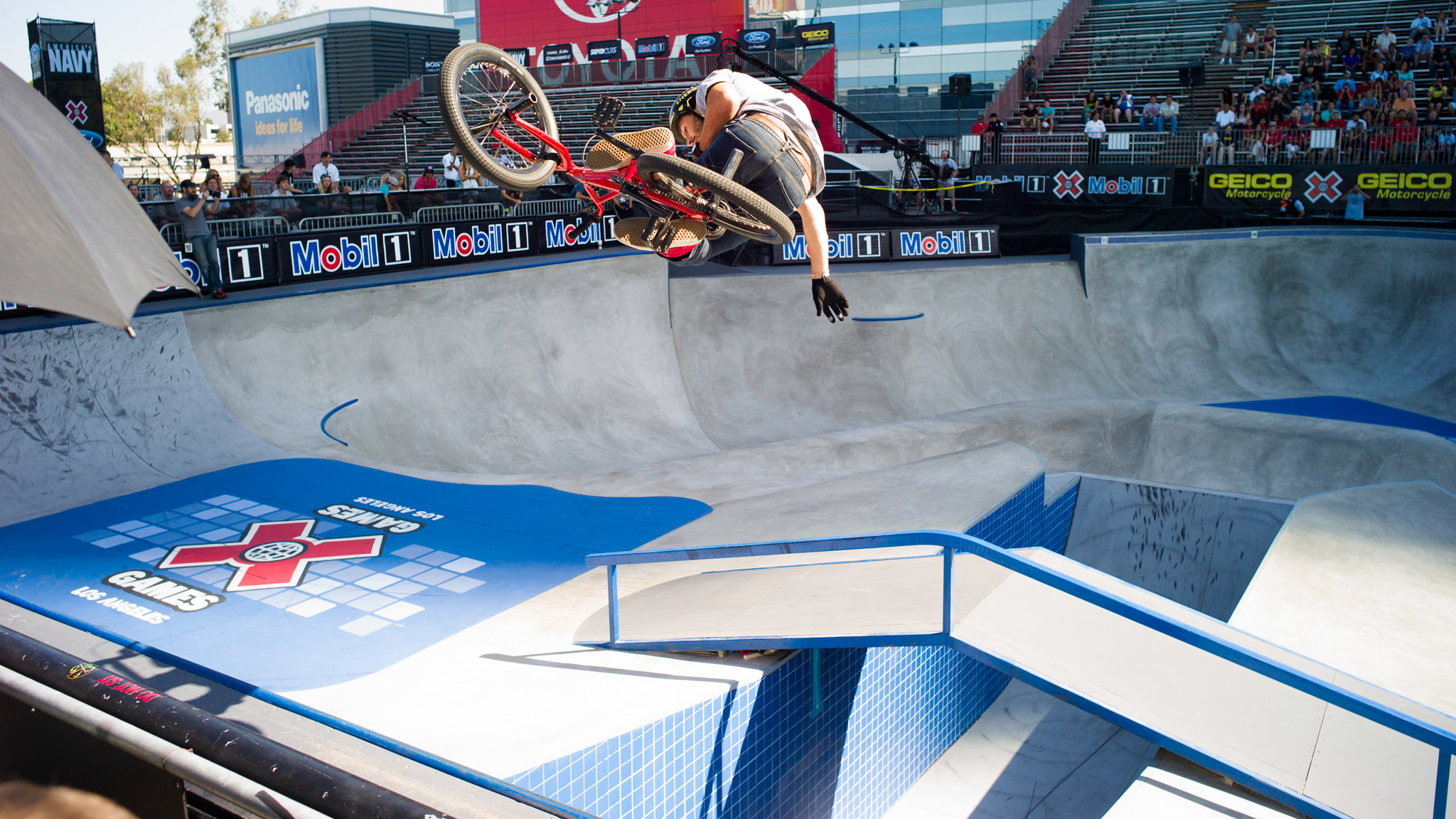 Gary Young, pictured here at X Games Los Angeles, has fallen prey to the qualify first psych out in the past, but remains a consistent threat for gold in BMX Park.