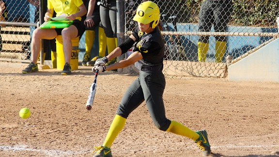 Janie Takeda helped Oregon to a three-game sweep of Arizona by hitting .400 with three RBIs.