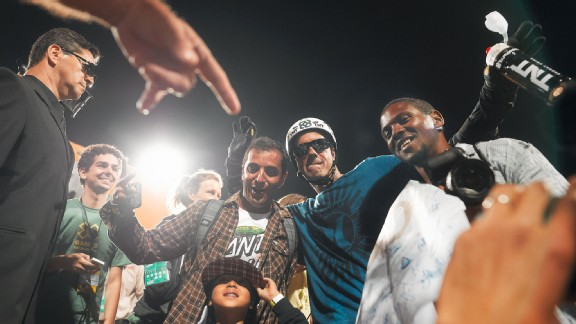 Bob Burnquist basks in the glow of winning X Games Big Air gold in front of his adoring home fans.
