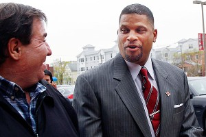 Eddie Jordan (right) was introduced as the new basketball coach at Rutgers on Tuesday.