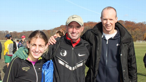 Mary Cain, left, has exceled with the coaching of Alberto Salazar, middle, and John Henwood.