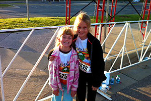 The Bowers girls, Emery Jo and C.J., participated in the Kids Marathon on Sunday.