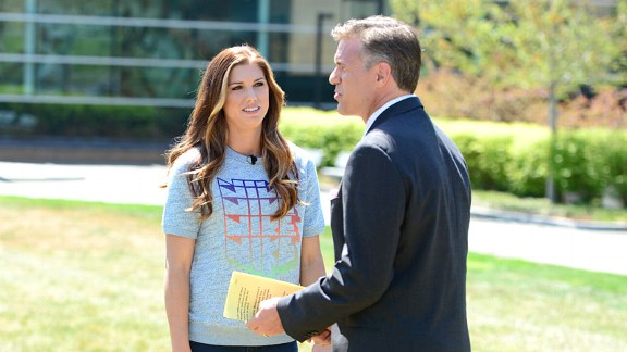 Forward Alex Morgan talks with SportsCenter anchor Jay Crawford on the Bristol green.