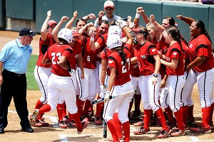 Louisiana-Lafayette players celebrate their victory over No. 9 LSU, leaving them one win away from the super regionals.