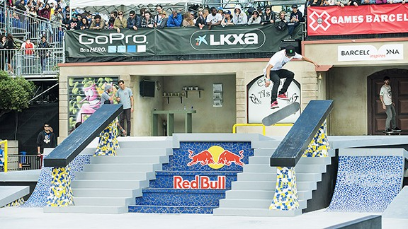 Nyjah Huston won gold in Street League at X Games in Barcelona, Spain.