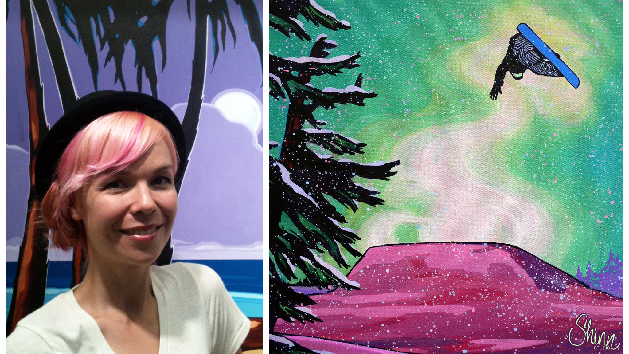 Surf artist Christie Shinn, left, also dabbles in the frosty arts, like her painting Send It, at right.