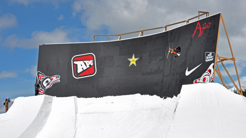 Tanner Hall gets creative on one of the biggest wallrides a freeski contest has ever seen.