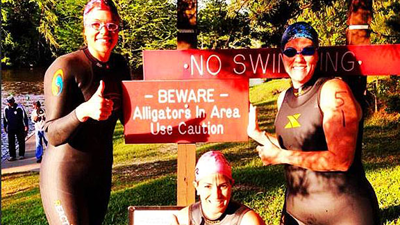 Jennie Finch is convinced she's had a close encounter with an alligator while training for her upcoming triathlon.