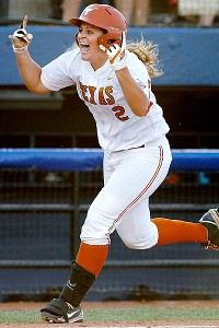 Six runs of support, including this one from Kim Bruins, were more than enough for the Longhorns.