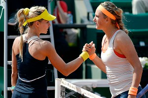 Victoria Azarenka, right, survived a first-set tiebreaker and swept close friend and former doubles partner Maria Kirilenko, left.