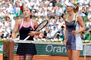 Defending champion Maria Sharapova, right, overcame a 6-0 first-set wipeout to defeat rival Jelena Jankovic, left.