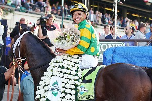 Jockey Mike Smith was all smiles after riding Palace Malice to an upset win at the Belmont Stakes on Saturday.